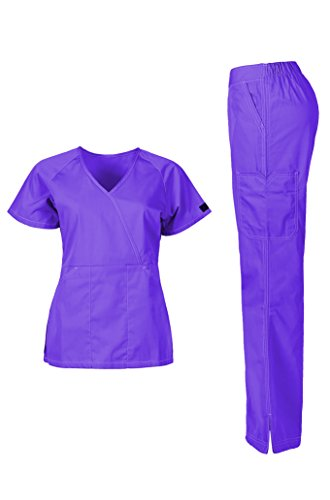 MedPro Women's Medical Scrub Set (Top & Bottom) Purple M - Scrubs Bottoms Purple