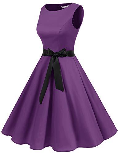 Purple Audery Da Partito Vestito Maniche 1950 Retrò Senza Cocktail Rockabilly Annata Swing Polka Abito Gardenwed qwxp6YU0W
