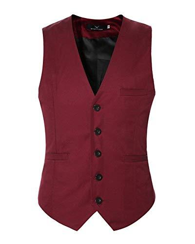 Veste Couleur Vintage Business Boutons Winered Casual Slim Suit Unie Homme 5 D'affaires Pour Leisure Fit vxzvq0wrO