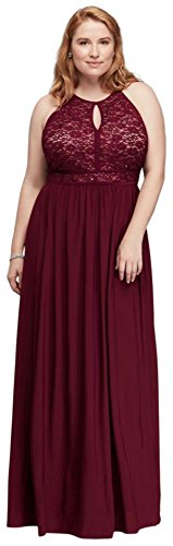 Lace Keyhole Tie Back Plus Size Halter Dress Style 12089DW, Wine, 20