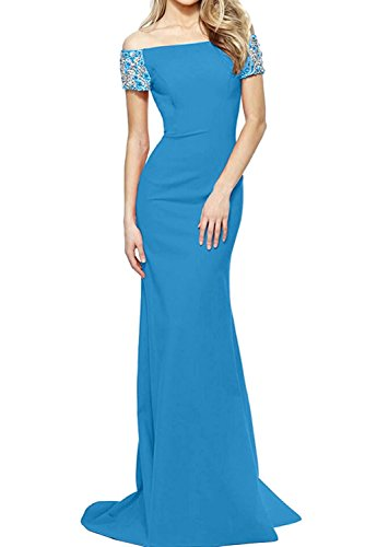 Figurbetont Braut Damen Blau Promkleider Etui La Marie Partykleider Langes Meerjungfrau Abendkleider 8q55USHwf