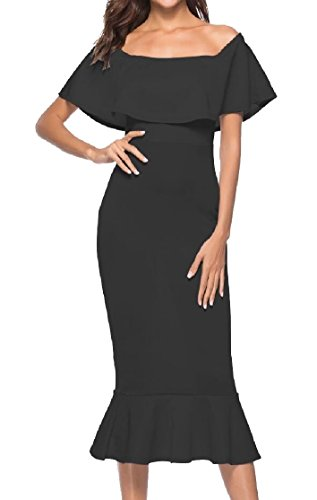 Ruffle Off Jaycargogo Shoulder Black Women's Dresses Party Cocktail Evening Bodycon Midi Stylish WqIWSO