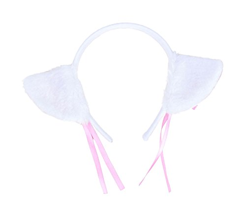 Girls Kitty Cheshire Costumes (AshopZ Teens Sweet Cosplay Cat Costume Ears Headband w/ Ribbon & Bells, White)