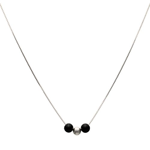 Silver Sterling 925 Onyx - Black Onyx Stone Station Sterling Silver Bead Box Chain Necklace 16