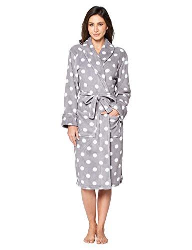 - Casual Nights Women's Fleece Plush Robe - Grey/Dots - Small