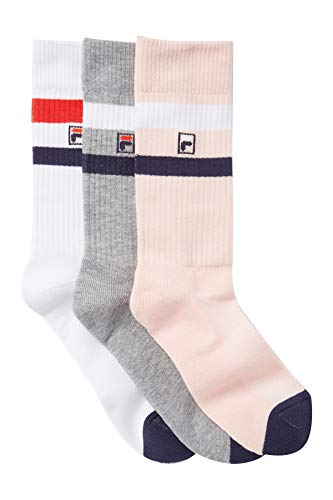 Fila Men's 3-Pack Heritage Blocked Toe Fila Logo Crew Socks (Light Pink/Gray/White)