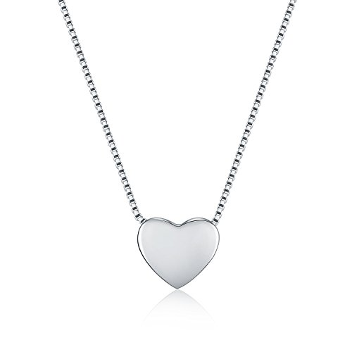 WRISTCHIE 925 Sterling Silver Tiny Silver Floating Heart Necklace 18