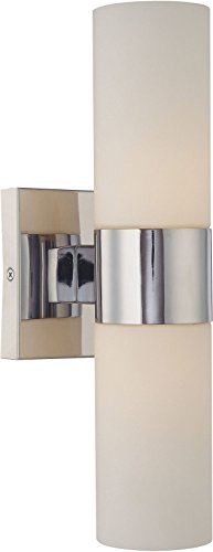 Minka Lavery Wall Light Sconce 6212-77 Reversible Glass Vanity Lighting, 2 Light, 120 Watts, Chrome