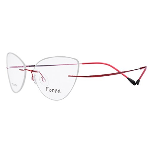 FONEX Titanium Cat eye Rimless Glasses Eyeglasses Myopia Optical Frames 10001 (Red, 52)