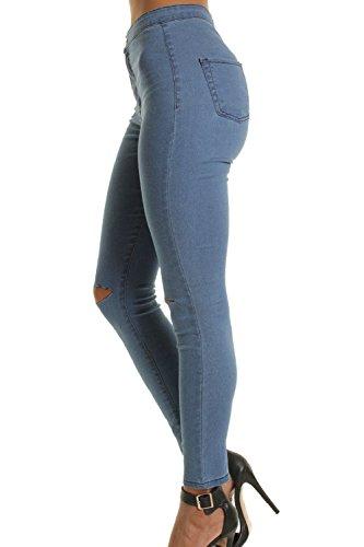 ELasstica Mujer Las Alta Jeans Cintura Pantalones Rasgado De Skinny Azul Hoyos A55rdq
