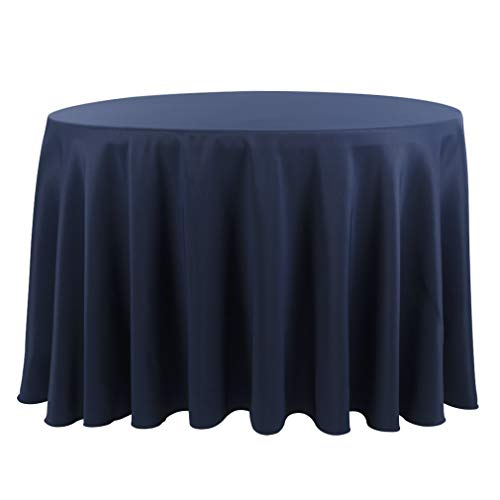 Waysle 132-Inch Round Tablecloth, 100% Polyester Washable Table Cloth for Circular Table, Navy Blue