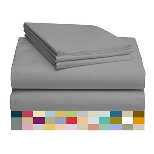ber and Bamboo Sheet Set: Bamboo Bedding Sheets with Microfiber - Softer and More Breathable Than Cotton - Antibacterial and Hypoallergenic - Machine Washable, Silver, Queen ()