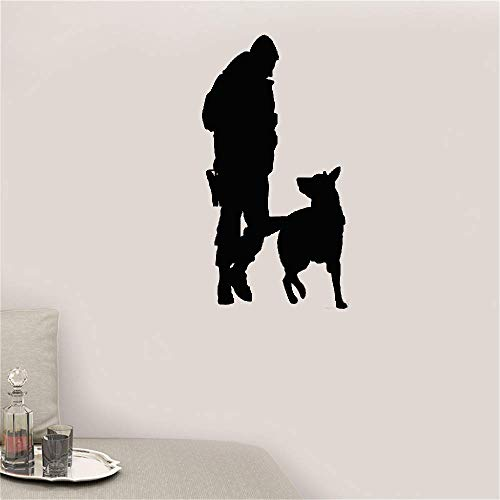 Wall Decal Wall Written Vinyl Wall Decals Quotes Sayings Words Art Deco Lettering Police Officer Dog for Kids Room Living Room Bedroom ()