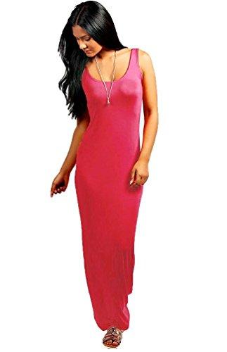 TrendyFashion - Vestido - Básico - Sin mangas - para mujer Rosso