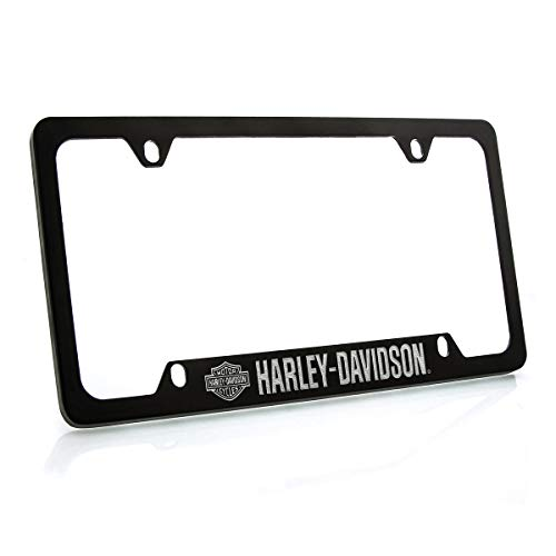 - Harley Davidson Silver & Black Bar & Shield Logo on left Car Truck SUV License Plate Frame Black Metal - Harley Davidson Script on Bottom