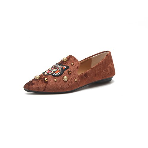 GAOLIM Women'S Shoes Spring And Summer Pointed Flat Shoes Rivets Shallow Mouth Shoes The Four Seasons Shoes Single Shoes Female, Brown (Youth Brown Patent Footwear)