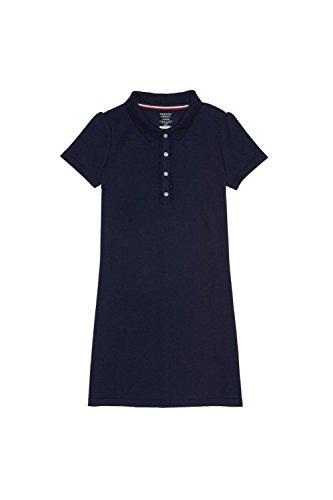 French Toast Big Girls' Short Sleeve Ruffle Placket Polo Dress, Navy, M (School Girls Dress)
