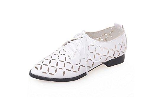 Women's Pointed Toe Slip On Flats Low Heel Ballet Loafer Slide Daily Walking Shoes (White 37/6 B(M) US Women)
