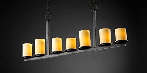 (Justice Design CNDL-8779-10-AMBR-DBRZ, CandleAria Dakota Chandelier Lighting, 7LT, 420w, Bronze)