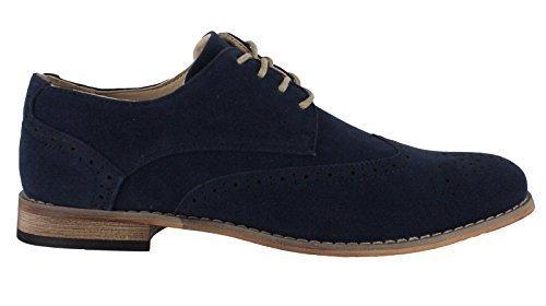 Classico Da Uomos Camoscio Sintetico Formale Casuale Scarpe Eleganti Brogue Con Lacci - Navy, 45