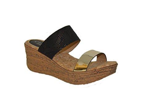 Ladies cómodo de mujer Mid Tacón metálico aspecto de piel de serpiente Correa de dos Sandalias de cuña Dorado - dorado