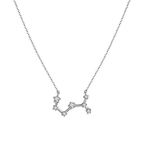 Scorpio Star - LOYATA Constellation Zodiac Necklace, Silver Plated Horoscope Pendant Necklace Delicate Rhinestone Zodiac Sign Elegant CZ Star Constellation Scorpio Necklace for Women (Scorpio)