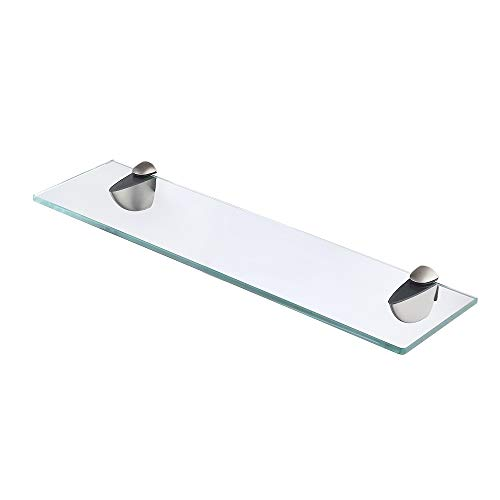Tinted Tempered Glass Shelves - KES Bathroom Glass Shelf Organizer Extra Thick Tempered Glass Zinc Alloy Wall Mounted Brushed Finish, BGS3200S35-2