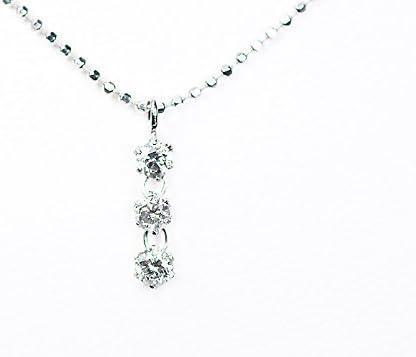 【KASHIMA】シルバー 0.15ct ダイヤモンド 3ストーン ペンダント ネックレス