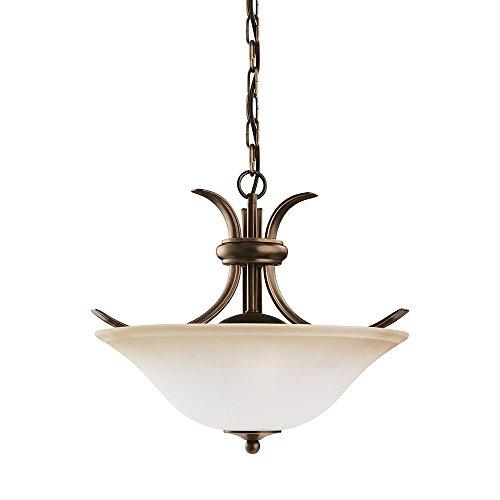 (Sea Gull Lighting 75360-829 2-Light Rialto Flush or Pendant Fixture, Ginger Glass Shade and Russet Bronze)