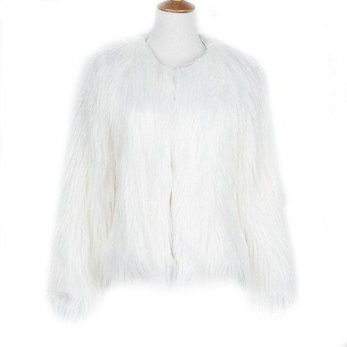 LLQ Abrigo para Mujer Invierno Piel Abrigo Mujer Caliente Chaqueta Piel Long Section Ropa Mujer Fur Coat Fur jacket Mujer Abrigo Pelo Invierno(Negro) blanco