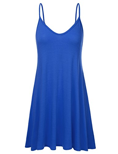 JJ Perfection Women's Loose Fit Thin Strap Flared Dress RoyalBlue 3XL ()