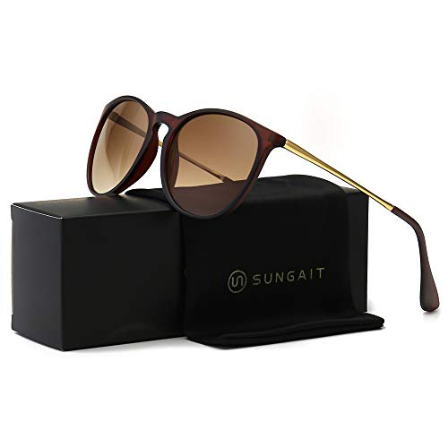 SUNGAIT Vintage Round Sunglasses for Women Classic Retro Designer Style (Brown Frame Matte Finish/Brown Gradient Lens)