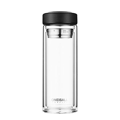 oneisall 500 Milliliter Double Wall Glass Tea Tumbler With Strainer For Loose Leaf ,Insulated Travel Coffee Mug,Glass Tea Cup Bottle,QGYBL110 (Black)