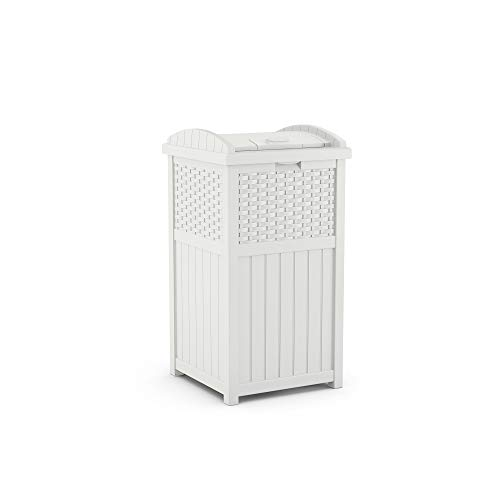 Suncast Corporation GHW1732WH Can Resin Outdoor Trash Hideaway with Lid-Use in Backyard, Deck, or Patio-White (Garbage Tall White Can)