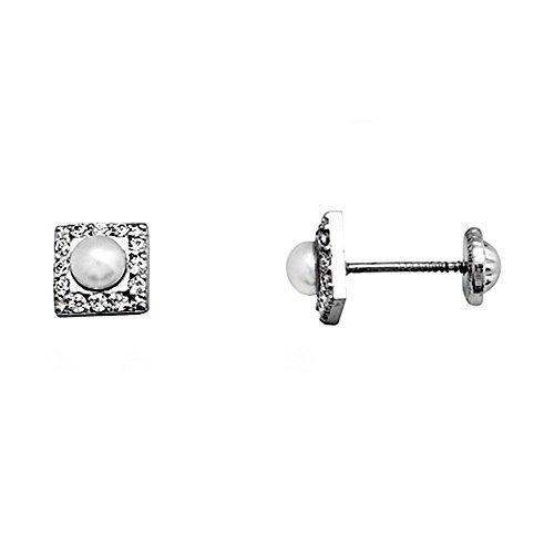 Boucled'oreille 18k blanc perle d'or de 3,5 mm. zircons cultivées [AA5104]