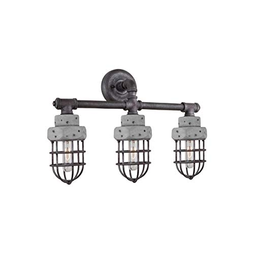 (Bathroom Vanity 3 Light Bulb Fixture with Slate and Grey Finish Metal & Concrete Medium 23