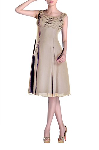 Pleated Bridesmaid the Mother Brides Knee Dress Occasion Special of Formal champagnerfarben Length IIn67qZf