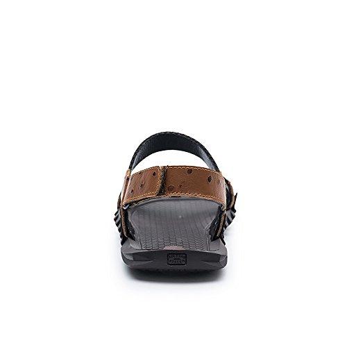 Marrone da colla giuntura pelle vamp uomo spiaggia Sandali lavoro Color vera antiscivolo 43 nastro manuale sandali intrecciatura BINODA Dimensione Marrone senza EU Sandali qxwSBfp