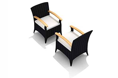 (Harmonia Living HL-AR-CB-DAC-CN Arbor Dining Arm Chair, Canvas Natural Cushion)