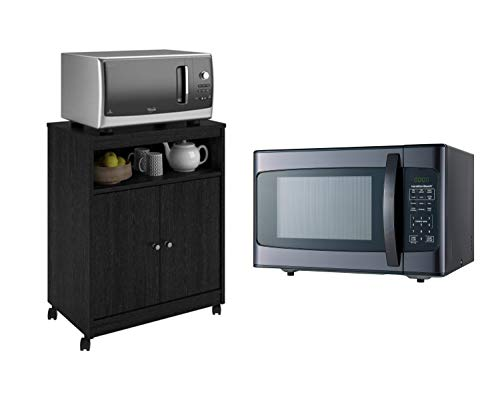 (Hamilton Beach 1.1 Cu. Ft. 1000W Black Stainless Steel Microwave bundle with Ameriwood Home Landry Microwave Kitchen Cart, Black Ebony Ash)