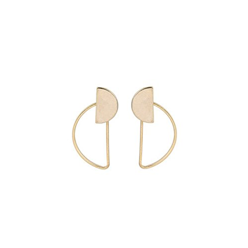 alloy geometry Double semicircle Shape Stud Earrings Simple Copper Ear Studs Earing(gold) - Simple Semi Circle