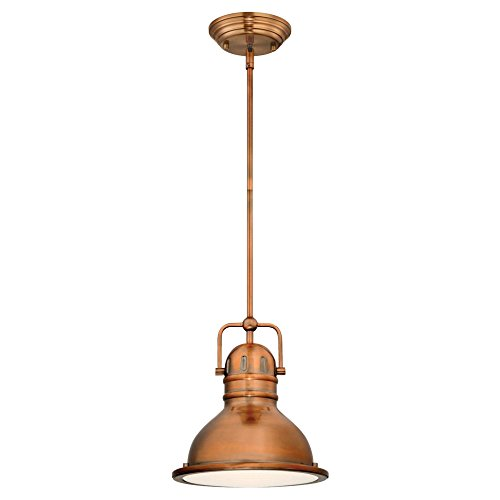 Light Copper Pendant (Westinghouse Lighting 63084B Boswell One-Light LED Indoor Mini Pendant, Washed Copper Finish with Frosted Prismatic Lens,)