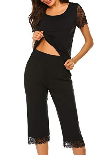 Ekouaer Womens Pajama Sets Cotton - Summer Pajamas for Women Black