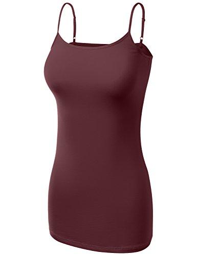 Dark Red Ladies Tank Top (Basic Cotton Adjustable Spaghetti Straps Cami T Shirts Dark BU Large)