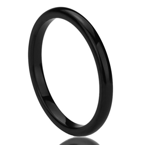 Domed Comfort Fit Wedding Band (2MM Titanium Womens Rings Black High Polished Classy Domed Comfort Fit Wedding Bands SZ: 6.5)