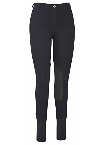 (TuffRider Women's Cotton Lowrise Pull-On Breeches, Black, 30)