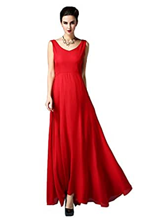 mbelle womens sleeveless chiffon solid tunic maxi party