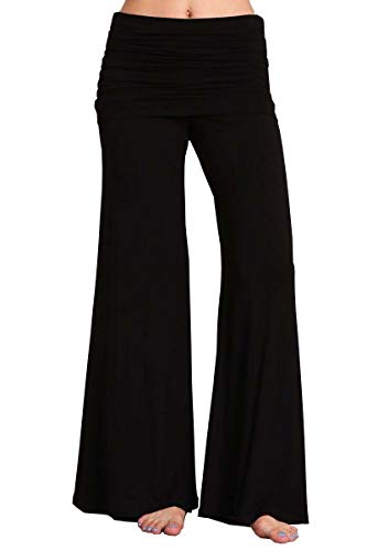 (HEYHUN Womens Casual Solid Flared Bottom Ruched Foldover Lounge Palazzo Pants - Black - Large)