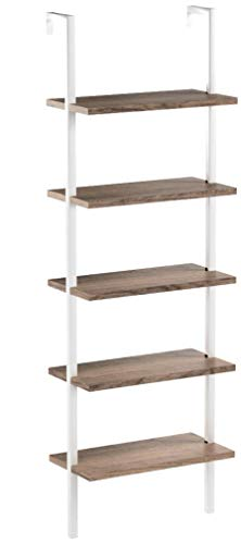 Nathan James Theo 5-Shelf Wood Ladder Bookcase with Metal Frame, Natural Light Brown/White