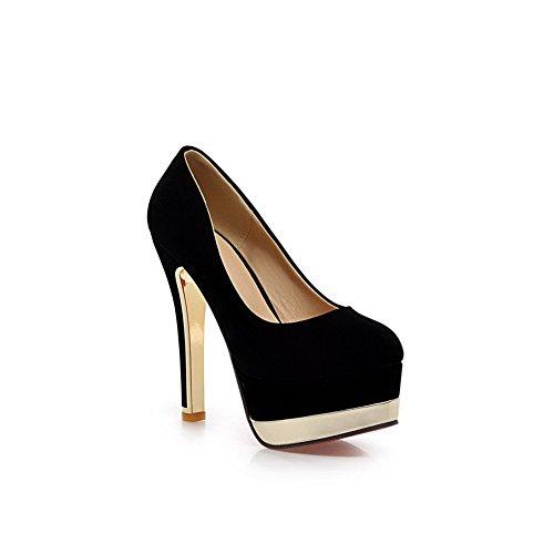 BalaMasa Girls slip-on high-heels Solid XI Shi velluto pumps-shoes, Nero (Black), 35